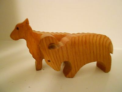 Small Wooden Sheep/Ram Handcarved*Salisbury, England 1987*Euc