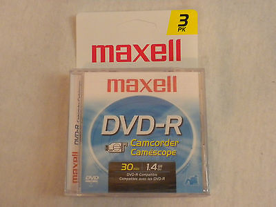 """3-Pack Maxell DVD-R 30 Minute 1.4 GB 3"""" 8 cm Camcorder Disks PN044985/MDM CD NEW"""