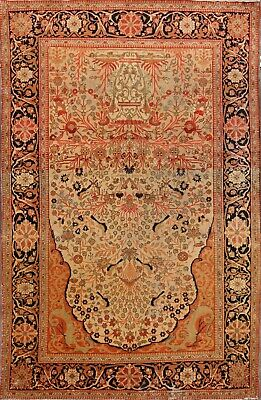 Pre-1900 Tree Of life Mohtashem Antique Persian Area Rug Vegetable Dye Wool 4x7