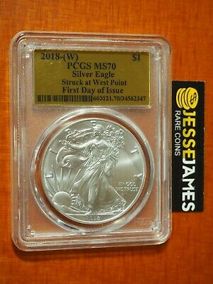2018 (W) Silver Eagle Pcgs Ms70 First Day Issue Struck At West Point Gold Foil