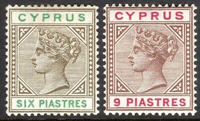 Cyprus 1894 sepia/green 6pi brown/carmine 9pi crown CA mint SG45/46