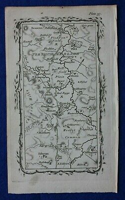 Rare antique road map NORTHUMBERLAND, WOOLER, FLODDEN FIELD, Armstrong 1776