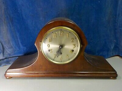Handsome Mahogany 'Napoleon's Hat' Mantle Clock  [1033]