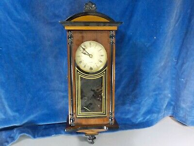 Good Sized Mixed Woods Vintage Wall Clock  [1034]