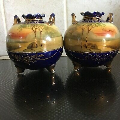 """Stunning Pair Of Antique Japanese Noritaki Hand Painted And Gilt Pots 3"""" High"""