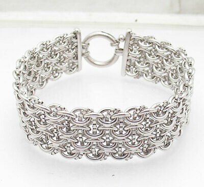 "8"" Anti-Tarnish Bold Oval Box Chain Bracelet Senora Lock Real Sterling Silver"
