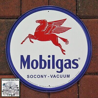 Vacuum Round Tin Metal Sign NR! New Mobilgas Socony Vintage NEW