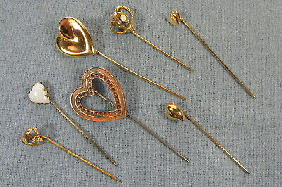 LOT of SEVEN Vintage and Antique HEART STICK PINS - Must See to Appreciate >>>