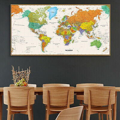 Globe Geographic Ocean HD World Map Silk Canvas Poster Education Art Unframed 92