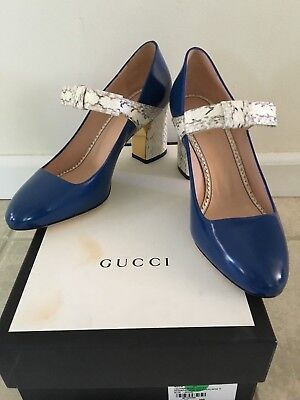 f66057fa10c GUCCI NIMUE ROYAL Blue Python Bow Mary Jane Shoes IT38 US 8  980 NIB ...