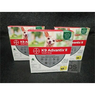 Lot of 3 Bayer K9 Advantix II Flea & Tick Treatment 2-Month Packs for Small Dogs