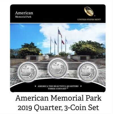 2019 PDS 3 Coin set . American Memorial Park Quarters/ DENVER /PHILA.. & SAN FRA