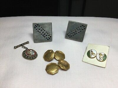MEN'S Vintage Jewelry Collection-STERLING. cuff Links, mosaic Tie CL,asp Enamel