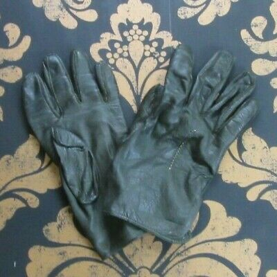 "VINTAGE RETRO BROWN REAL LEATHER GLOVES MEDIUM 7"" g18"