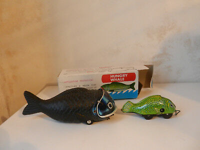 Shackman Made in Japan Tin Toy Japan Mechanical Hungry Whale OVP