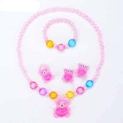 Exceptional Baby Toddler Girls' Earrings, Necklace, Bracelet and Ring Bead Set