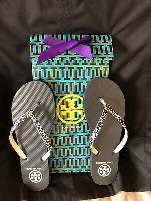 581449e0faac new tory burch flip flop sandals size 9 navy blue cute w jeans skirts  swimsuit