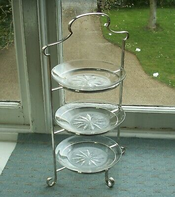 Old Vintage Antique Silver Plated Cut Glass Afternoon Triple Tea Cake Stand 1900