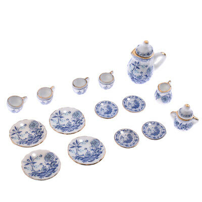 1/12 Dollhouse Miniature Tableware Tea Coffee Wine Cup Set 15pcs Blue Flower