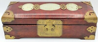 Antique Carved Translucent Jade Cherry Wood Jewelry Box From Shanghai China