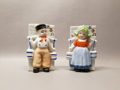 """Vintage Japan wall pocket pair Dutch boy and girl 5"""" plaque"""