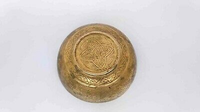 Antique vintage Bowl of copper writing Persian Arabic Islamic Solid brass decor