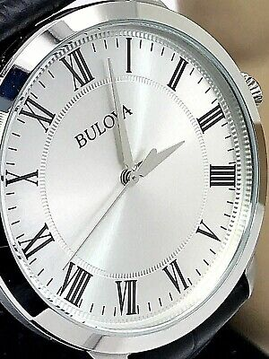 Bulova Quartz Silver Tone Dial Black Leather Strap Men's Watch 96A133