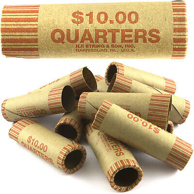 36 ROLLS PREFORMED QUARTER COIN WRAPPERS TUBES 25 CENT Shotgun Counter Paper