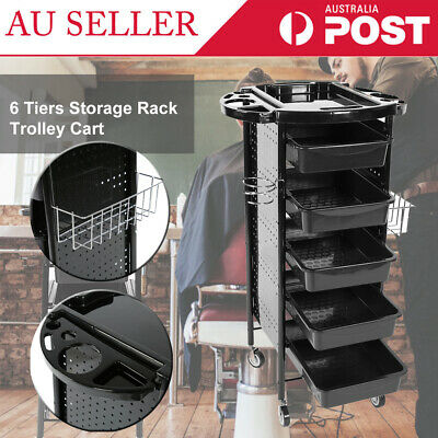 AU 6 Tiers Storage Rack Trolley Cart With Rolling Wheels for Hair Salons Beauty