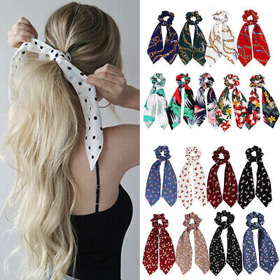 Boho Girl Print Ponytail Scarf Bow Elastic Hair Tie Scrunchies Ribbon Hair Bands