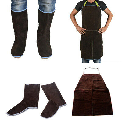 Leather Welding Work Apron+1Pair Welding Foot Covers Flame Resistant, Brown