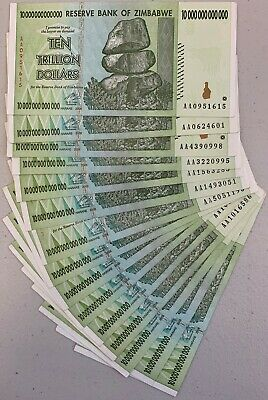 15 x 10 TRILLION ZIM Dollars (ZWD), AA /2008, Good Condition - FAST Shipping
