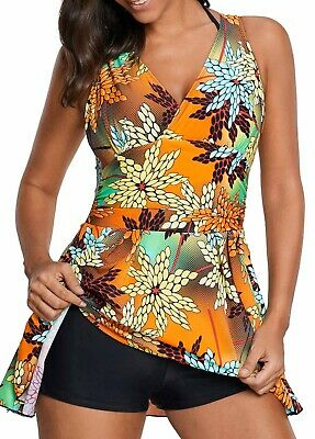 0fcfb06ba5a24 US PATCHWORK BATHING Suits Large Bust Skirt Padded TopTankini 2 ...