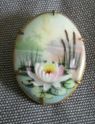 Antique Hand-Painted Porcelain Pin Water Lily Accent