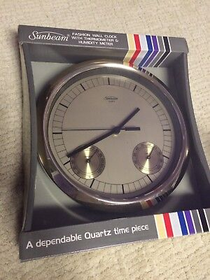 NIB Vintage Sunbeam Wall Clock with Humidity Meter Thermometer 1970s 1980s decor