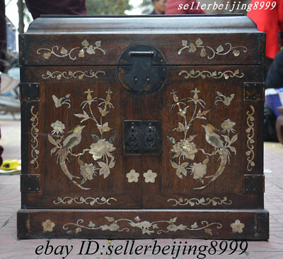 Collect China Huali Wood Inlay Shell 2 Bird Flower Storage Jewelry Chest Bin Box