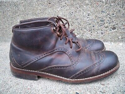 a0c7685311e WOLVERINE 1000 MILE Mid Lace Brown Leather Men's Ankle Wingtips Boots Size  7.5