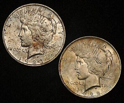 1922 & 1923 Peace Silver Dollars Lot Of (2) Toned Uncirculated Coins