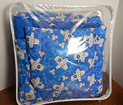 Frankenmuth Woolen Mill Airplanes Print Crib Blanket & Matching Pillow EUC