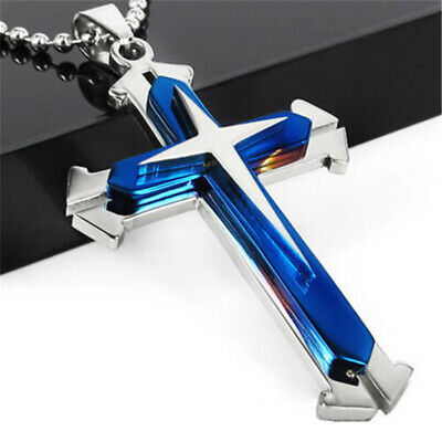 Vintage Unisex Men Blue & Silver Stainless Cross Chain Pendant Necklace Gift NEW