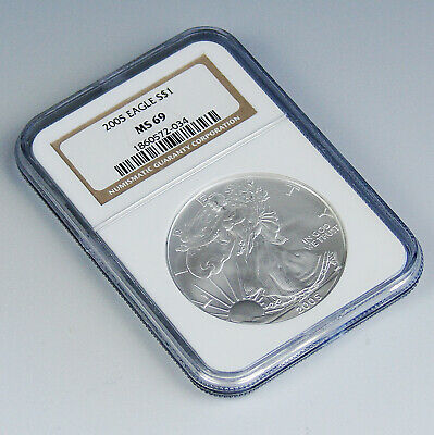 2005 American Silver Eagle $1 Dollar Coin NGC MS 69 Certified 1 oz .999 Fine