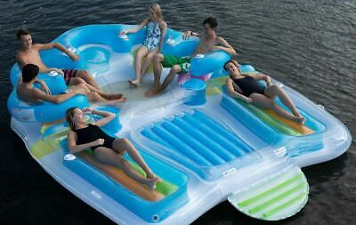 Inflatable Floating Party Island Water Raft Lake Pool Floats 7 Person Seat New