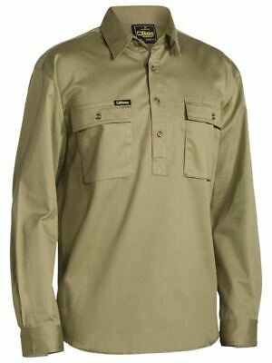Bisley Workwear Cotton Drill Work Shirt Closed Front Long Sleeve BSC6433 KHAKI