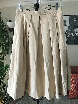 a611a364c8 BLAQUE LABEL sz M Creamy Beige Faux Vegan Leather Pleated Skirt NWT
