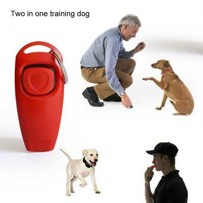 Pet Puppy Clicker Whistle Dog Training Obedience Cat Trainer Keyring Aid Click