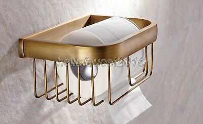 Antique Brass Wall Mounted Bathroom Toilet Paper Roll Holder Basket