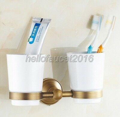 Antique Brass Bathroom Double Tumbler Cup Holder Toothbrush Holder lj002-7