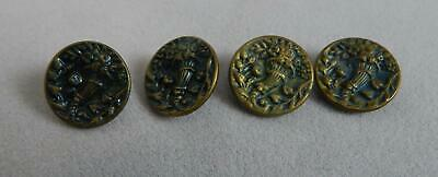 """FOUR Matching Antique Brass Metal Shank-style 3/4"""" Round Buttons"""