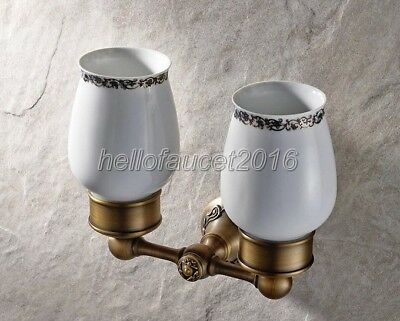 Antique Brass Bathroom Double Tumbler Cup Holder Toothbrush Holder lba002-9