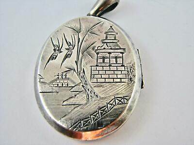Antique 1879 Locket Blue Willow Pattern Sterling Silver Engraved Victorian HMs